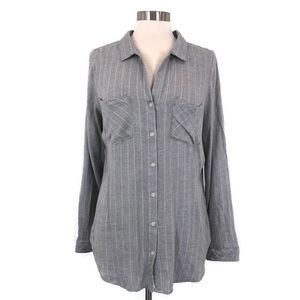 THREAD & SUPPLY Gray Stripe Long Sleeve Button Up
